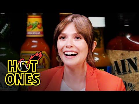 Elizabeth Olsen Feels Brave While Eating Spicy Wings   Hot Ones