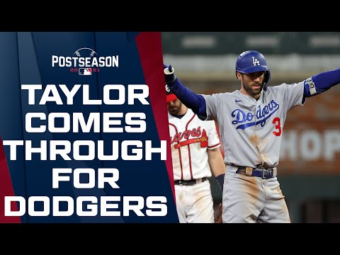 Chris Taylor drives in two for the Dodgers on WILD play in NLCS Game 2!