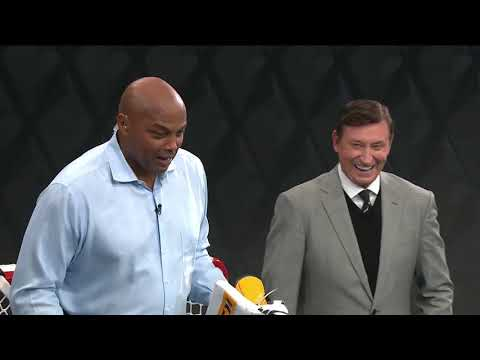 Charles Barkley and Wayne Gretzky square off in shootout