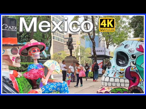 【4K】WALK Mexico City 4k video TRAVEL VLOG Skulls in CDMX hdr