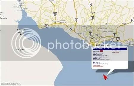 LIVE SHIPS MAP. El mapa muestra un barquito que intenta meterse al Rio de la Plata.
