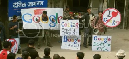 PROTESTA. Tibetanos contra la censura Google en China.