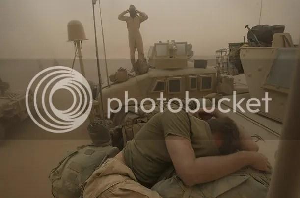 US Troops in an Afghan sandstorm