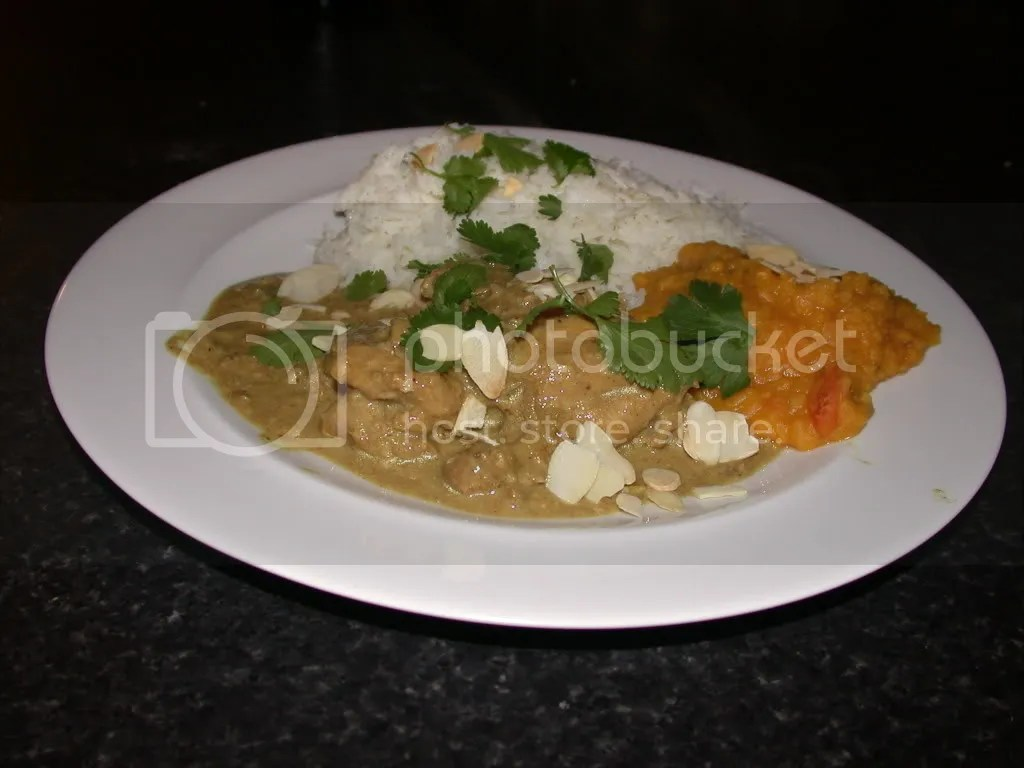 chicken korma with dhal and rice