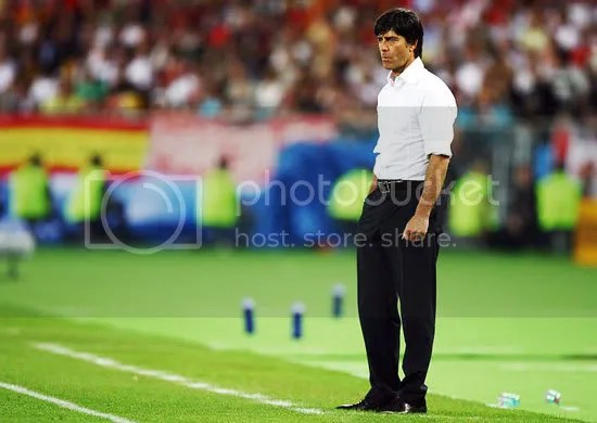 This is during the match and it show Joachim Low looking bemused.