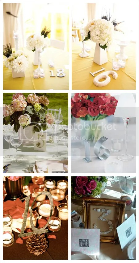 Numerar mesas [Vía, Every Last Detail, Martha Stewart e In The Now Weddings]