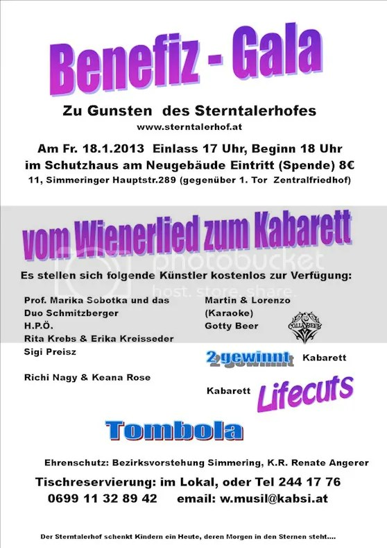 Benefiz Gala am 18.Jänner 2013
