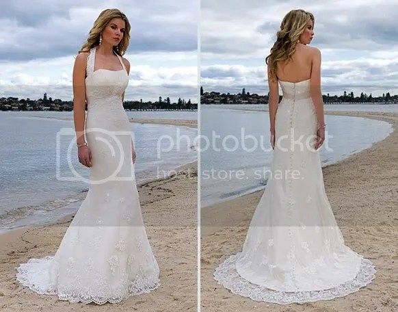 Halter Lace Beach Casual Bridal Wedding Gown Dress