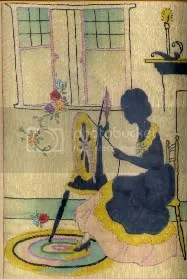Lady at spinning wheel.