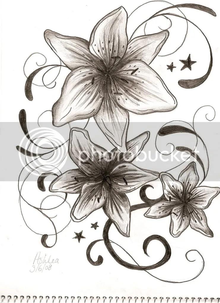 wzory tatuaży, lilie