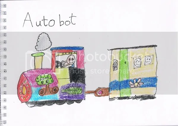 children's drawing, children's doodle,colourful train