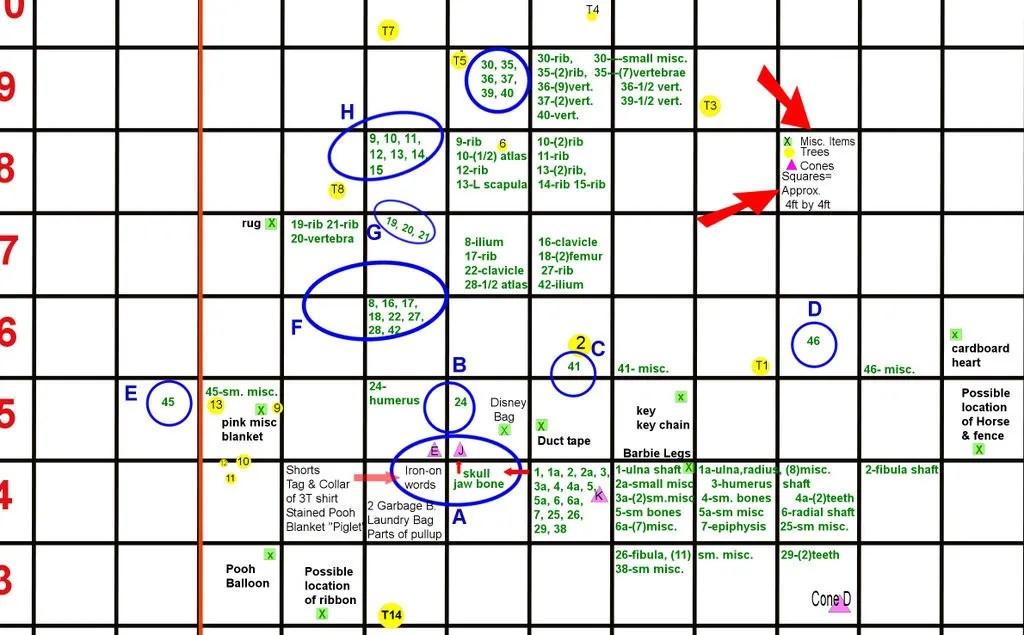 Casey Anthony crime scene map, Casey Anthony crime scene map of items found