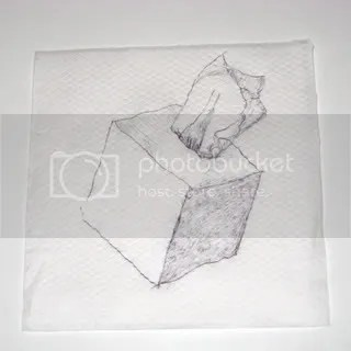 white kleenex box napkin drawing