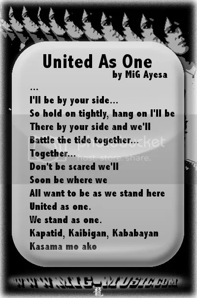 lyrics to MiG Ayesa's United As One