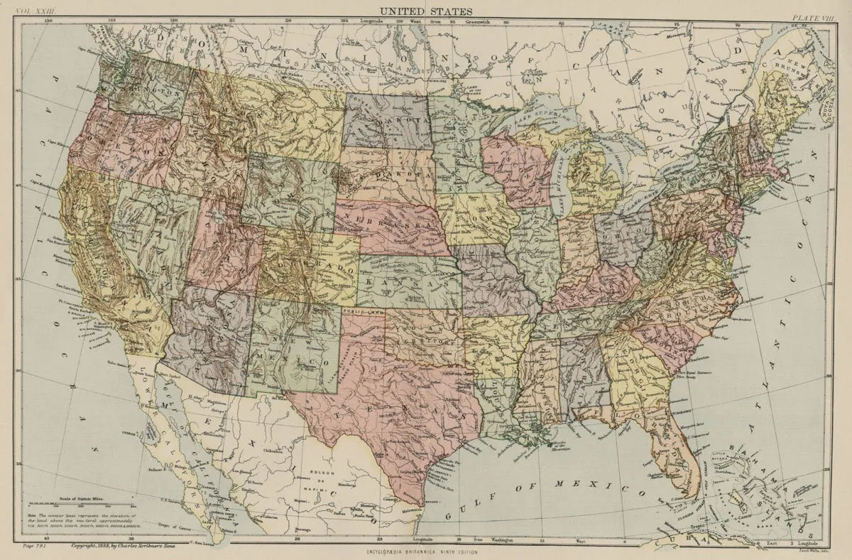 United States Usa Map W Indian Territory No Okla