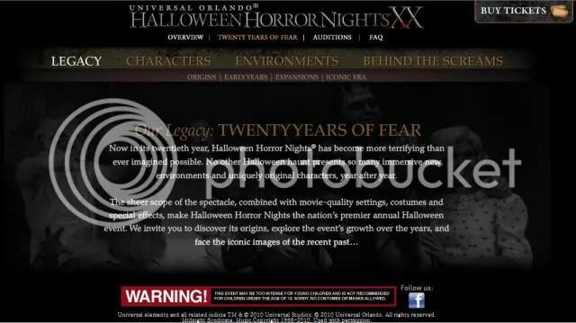 Halloween Horror Nights website