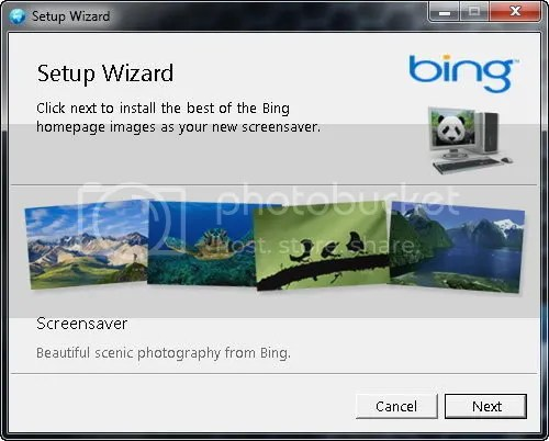 Download Bing Screensaver cho Windows 7, Vista và XP