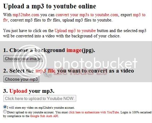 Upload MP3 lên YouTube với Mp32Tube