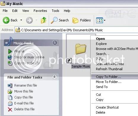 Cách khác để thêm Copy To Folder và Move To Folder vào menu