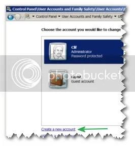 Tạo tài khoản người dùng mới trong Windows 7