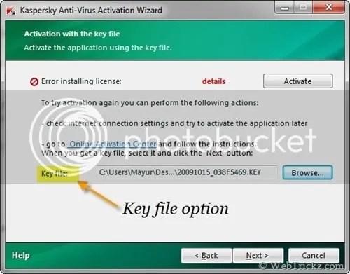 Cách kích hoạt Kaspersky 2010 bằng key file
