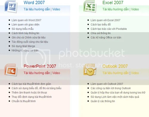Word 2007, Excel 2007, Powerpoint 2007, Outlook 2007