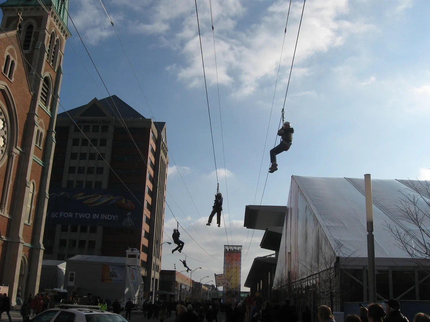 Super Bowl XLVI Village ziplines