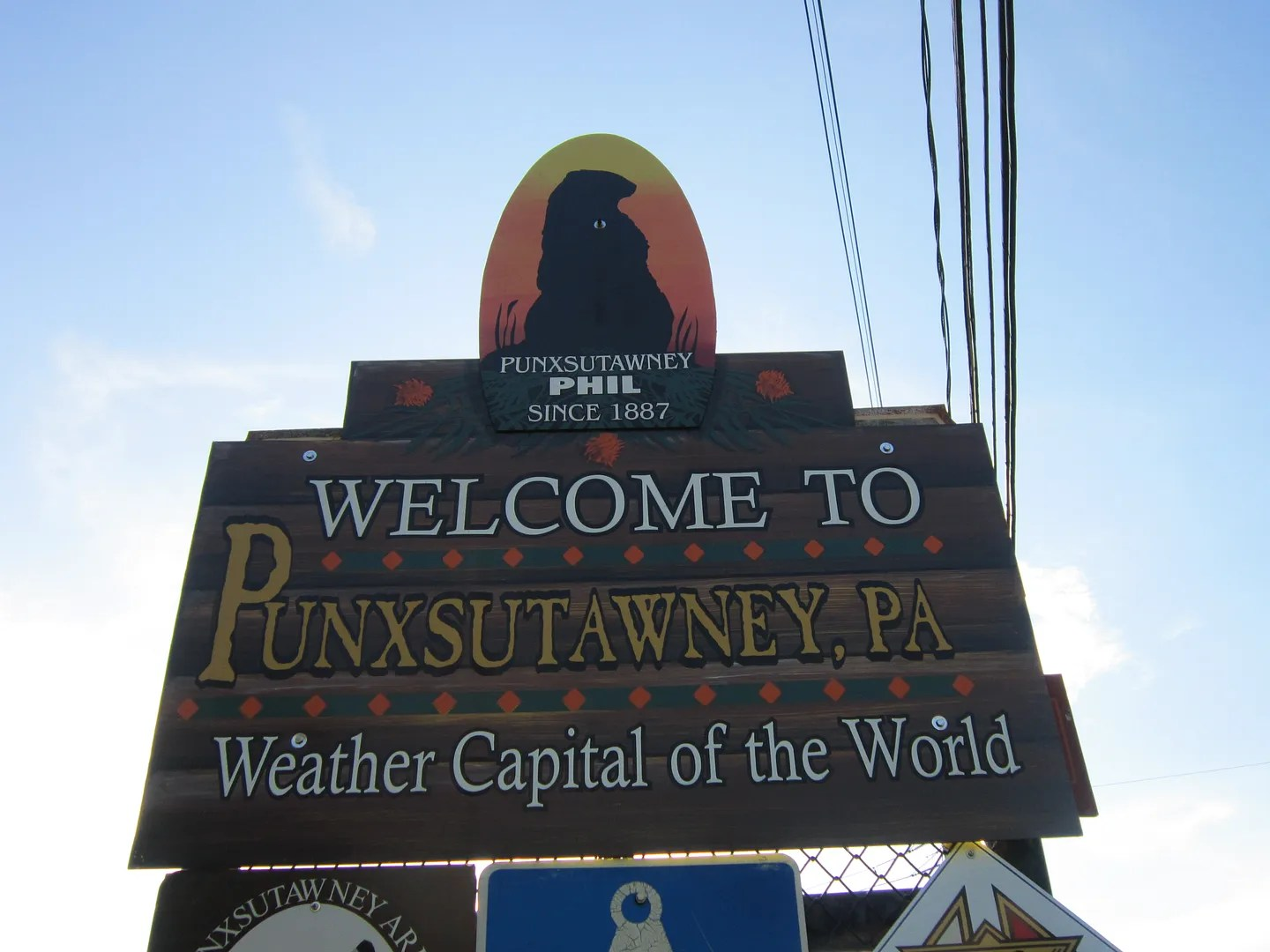 Punxsutawney sign, Pennsylvania