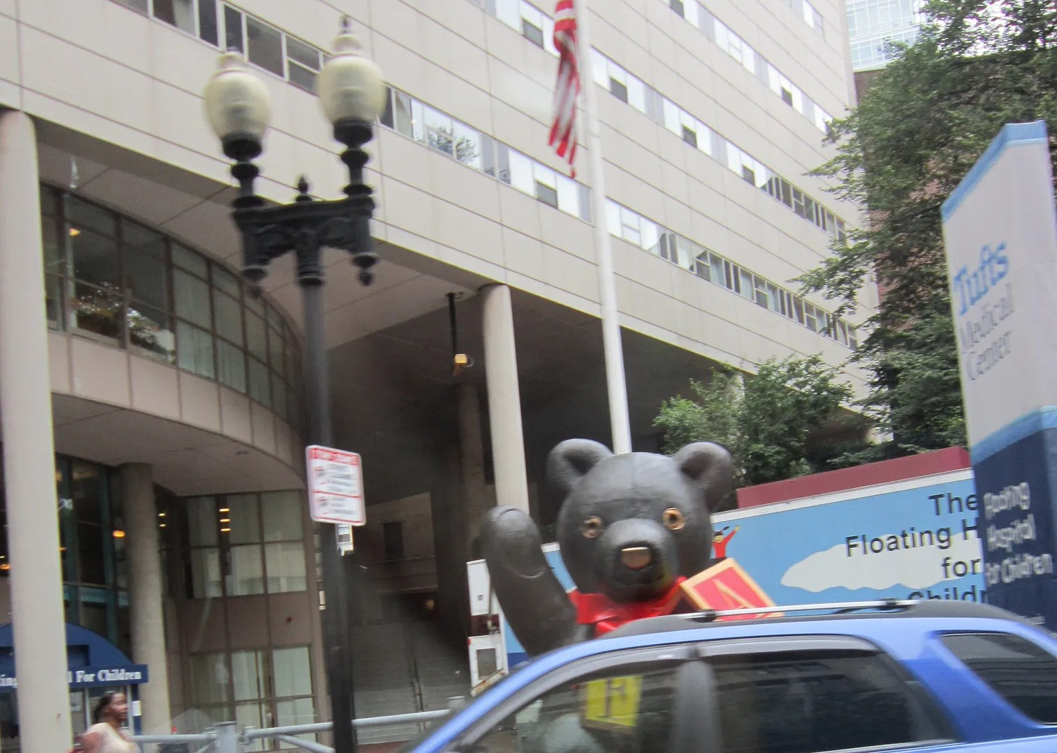 giant teddy bear, Tufts Medical Center, Boston