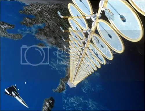 Suspended Solar Power Plants in Space