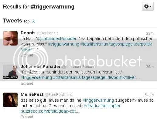 Screenshot zu #Triggerwarnung: Warnung vor toter Katze und vor piratenkritischem Artikel