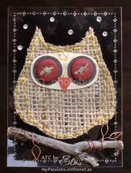'Night Owl' ATC on dark background