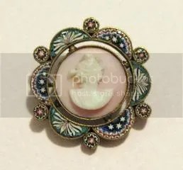 Antique Victorian conch pink shell cameo and micro mosaic glass brooch jewelry