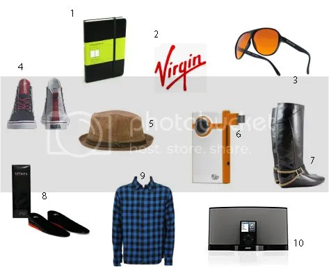Virgin airways,The 2 Bandits,Flip Video,Livity Hats,Bose speaker for ipod,Tavik,LiftKits HiTop Insole,Creative Rec Ponti,Moleskin Diary,Blublocker sunglasses