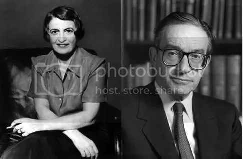 Libertarian Ayn Rand and her former devotee - Alan Greenspan