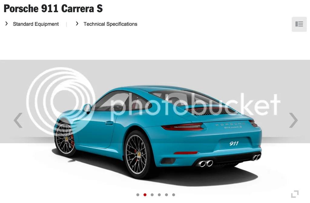 Miami Blue 2016 Porsche 911 Carrera S Rear
