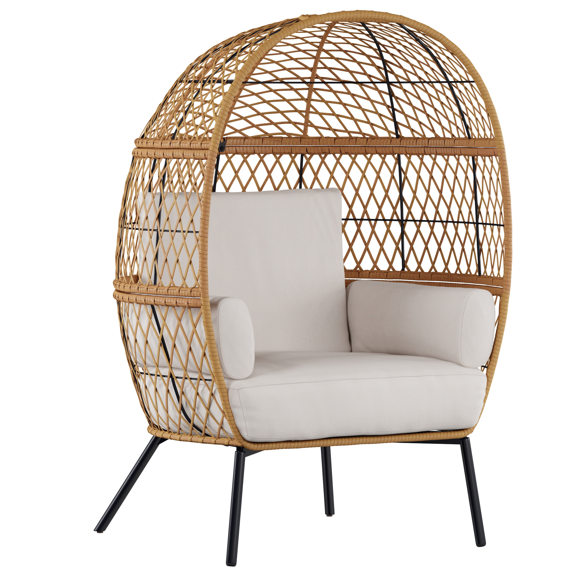 better homes and gardens ventura boho stationary wicker egg chair with cream cushions