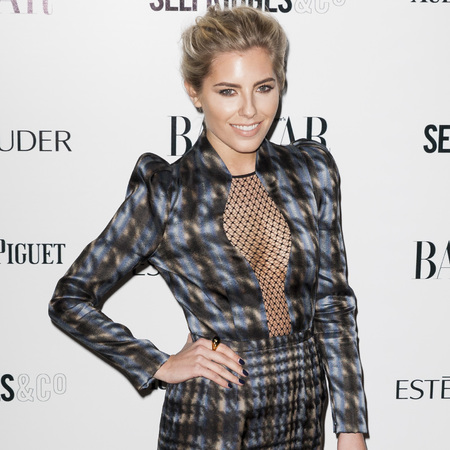 Mollie King - sheer dress - gucci tweed print - harpers bazaar women of the year awards - handbag.com