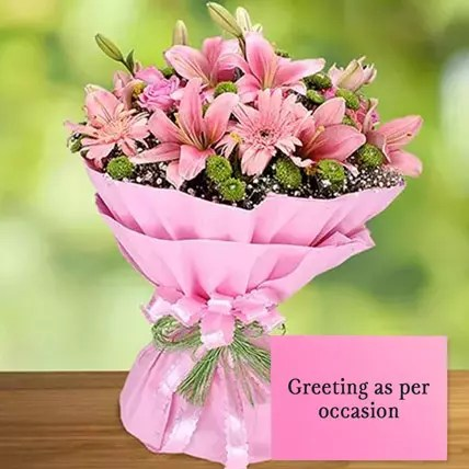 Online Pink Flowers Bouquet With Greeting Card Gift Delivery In Uae Ferns N Petals