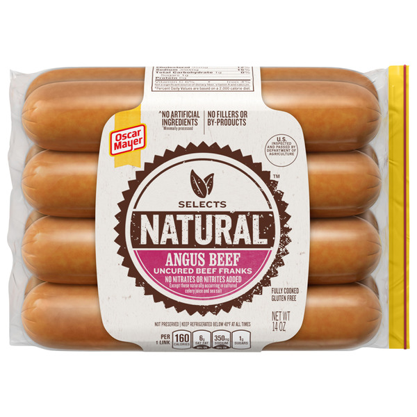 oscar mayer selects natural angus beef uncured smoked beef franks 8 ct