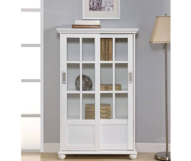 Ameriwood Home Aaron Lane Bookcase With Sliding Glass Doors Multiple Colors