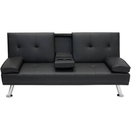 best choice products modern faux leather convertible folding futon sofa bed recliner couch w metal