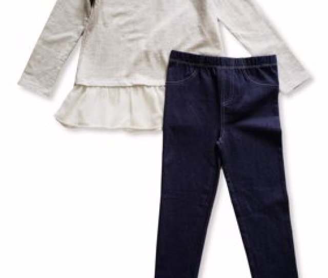 Product Image Aztec Embroidered Long Sleeve Peplum Top Knit Denim Jeans  Piece Outfit Set