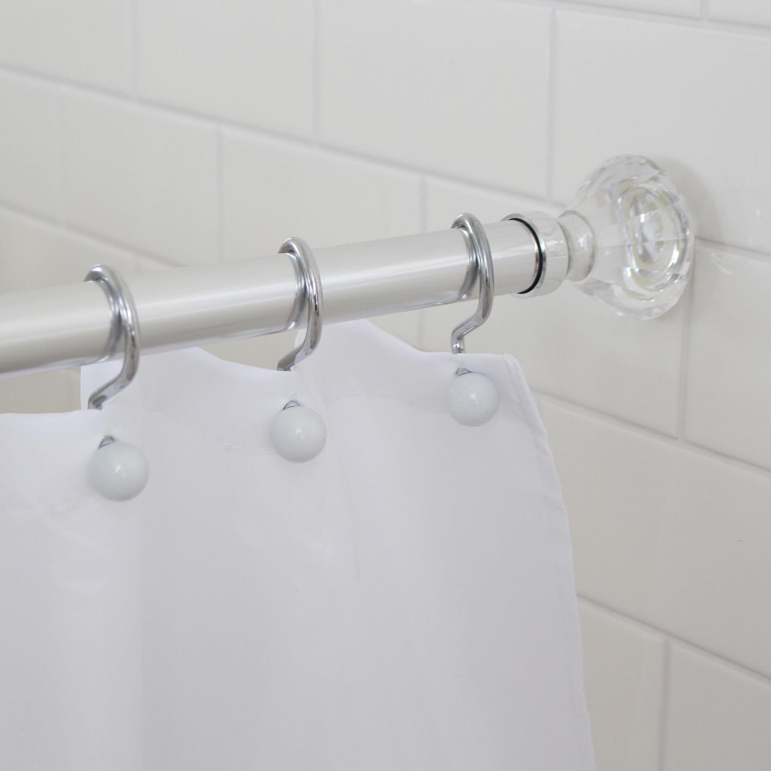 Splash Home Olena Rust Resistant Strong Hold Constant Tension Bathroom Decorative Shower Curtain Rod Extendable 42 72 Inches