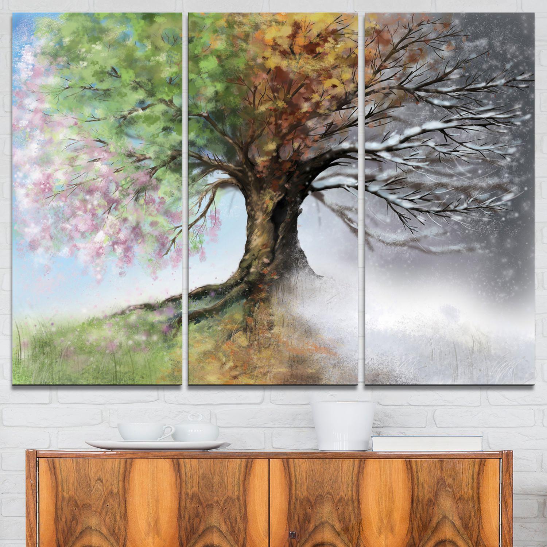Design Art Tree With Four Seasons Tree Painting Canvas Art Print