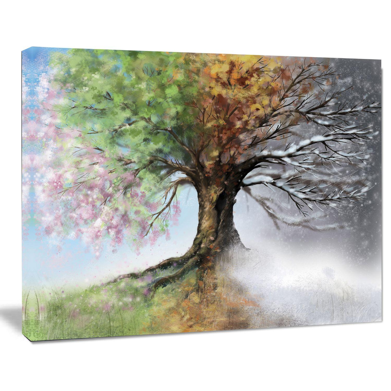 Design Art Tree With Four Seasons Tree Painting Canvas Art