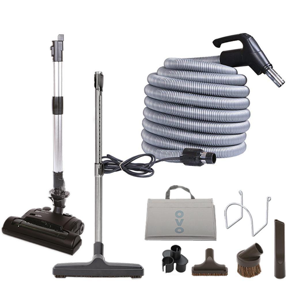 ensemble d accessoires a tapis deluxe ovo pour aspirateur central incluant boyau haut voltage de 30 pi avec interrupteur marche arret a la poignee