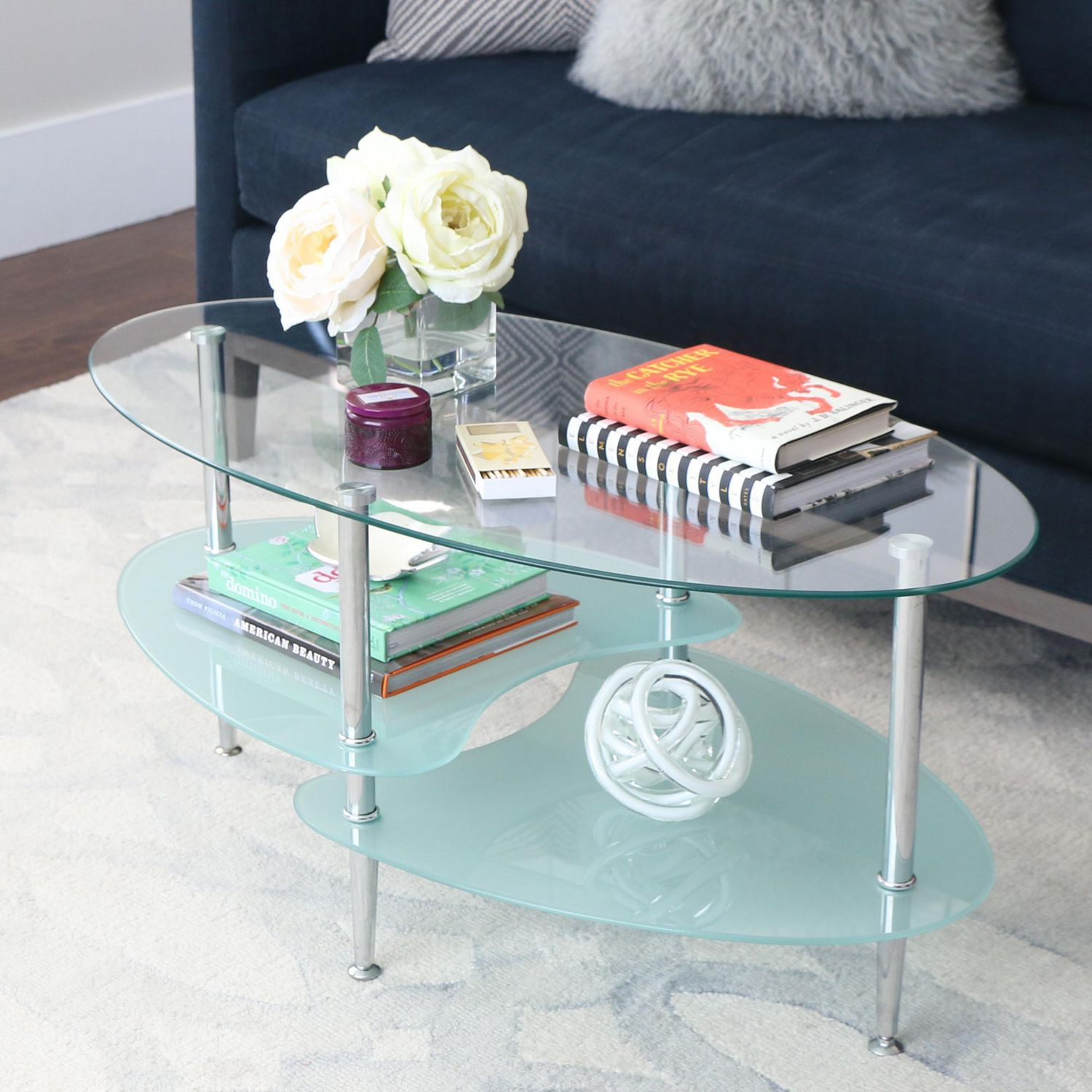 manor park modern oval glass coffee table
