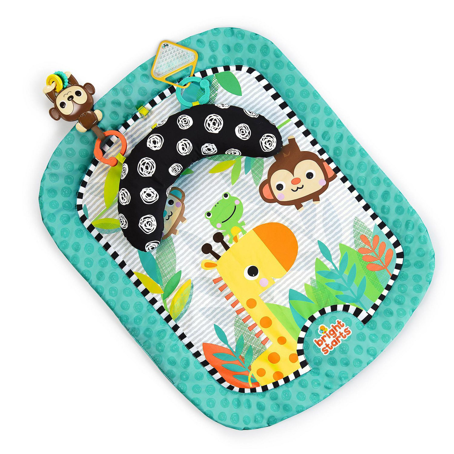 bright starts giggle safari prop mat baby mat and tummy time pillow