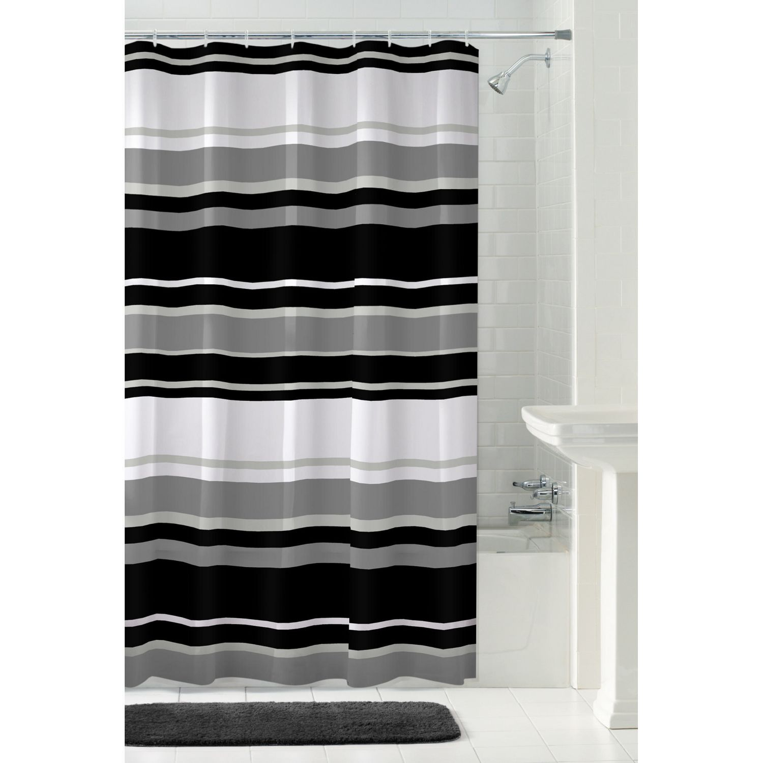 Mainstays Peva James Stripe Shower Curtain Or Liner 70 Inches X 72 Inches Black